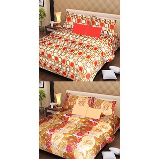 Akash Ganga Pure Cotton 2 Double Bedsheets with 4 Pillow Covers (AG1109)