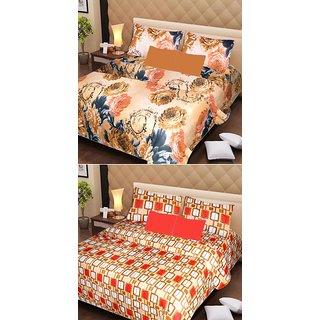 Akash Ganga Pure Cotton 2 Double Bedsheets with 4 Pillow Covers (AG1112)