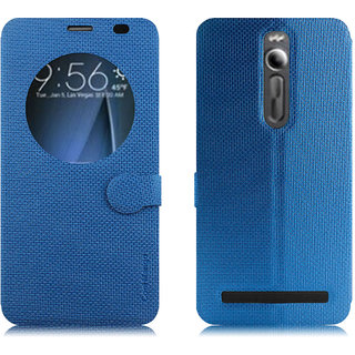 Asus Zenfone 2 Flip Cover With Notification Window - Cool Mango iMaterial Window Flip Cover / Case for Asus Zenfone 2 ZE551ML / ZE550ML - Cool Blue