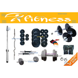 "WEIGHT LIFTING 16 KG+4 RODS(1 CURL)+2 DUMBELLS RODS 14""STAR NUT+FIT ACC.HOME GYM"
