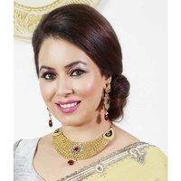 Kriaa Mithya Antique Gold Finish, Kundan, Meenakari Maroon Drop Necklace Set