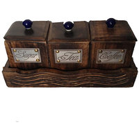 Wooden tea coffee sugar box