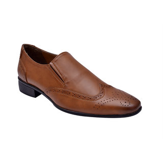 Hirels Tan Brogue Slip Shoes
