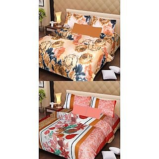 Akash Ganga Set of 2 Multi-Colour Double Bedsheets with 4 Pillow Covers (AG1114)