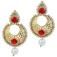 Kriaa Gold Finish Austrian Stone Pearl Drop Red Earrings - 1305939