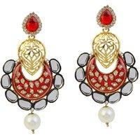 Kriaa Austrian Stone Kundan Meenakari Pearl Drop Red Earrings - 1305940