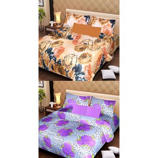 Akash Ganga 2 Cotton Double Bedsheets with 4 Pillow Covers (AG1118)