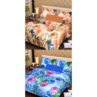 Akash Ganga 2 Cotton Double Bedsheets with 4 Pillow Covers (AG1119)