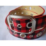 RED COLORED CHECKS DESIGNER BELT FOR WOMEN FOR ALL WAIST SIZES  UP TO 36""
