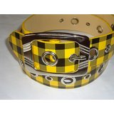 YELLOW COLORED CHECKS DESIGNER BELT FOR WOMEN FOR ALL WAIST SIZES  UP TO 36""