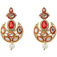 Kriaa Austrian Stone Meenakari Kundan Pearl Drop Red Earrings - 1305941