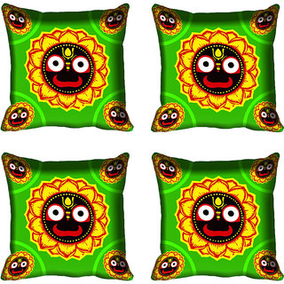 meSleep Floral Face Design Digital Printed Cushion Cover 16x16
