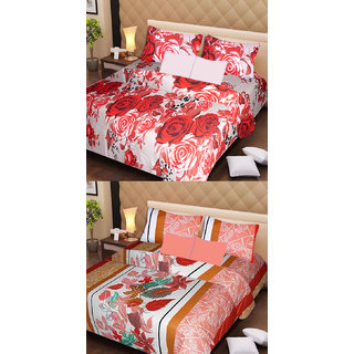 Akash Ganga Pure Cotton 2 Double Bedsheets with 4 Pillow Covers (AG1121)