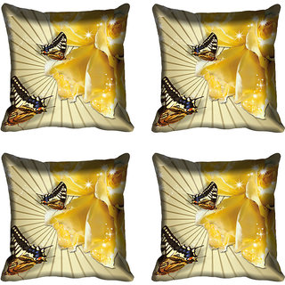 meSleep Yellow Flower With Butterfly Digital Printed Cushion Cover 16x16