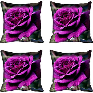 meSleep Purple Rose Digital Printed Cushion Cover 16x16