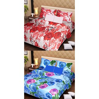 Akash Ganga Pure Cotton 2 Double Bedsheets with 4 Pillow Covers (AG1127)