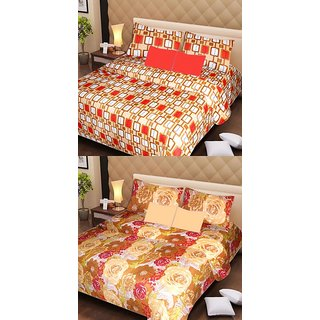 Akash Ganga Pure Cotton 2 Double Bedsheets with 4 Pillow Covers (AG1131)