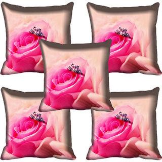 meSleep Pink Rose Digital Printed Cushion Cover 16x16