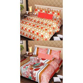 Akash Ganga Cotton 2 Double Bedsheets with 4 Pillow Covers (AG1132)