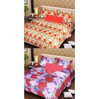 Akash Ganga Beautiful Combo of 2 Double Bedsheets with 4 Pillow Covers (AG1134)