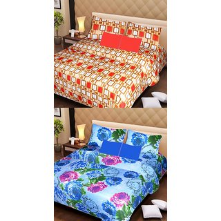 Akash Ganga Beautiful Combo of 2 Double Bedsheets with 4 Pillow Covers (AG1139)