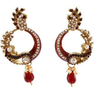 My Design stone with maroon meenakari earring