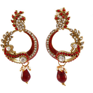 My Design stone with red meenakari earring