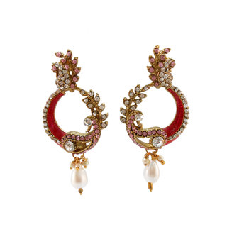 My Design stone with pink meenakari earring