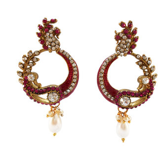 My Design stone with rani meenakari earring