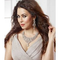 Kriaa Mithya Exclusive Classy Design Rhodium Plated Silver Stone Necklace Set wi