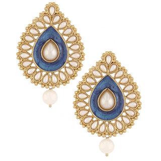 The Jewelbox Blue Meenakari Enamel Pearl Gold Plated Pear Drop Ethnic Earring