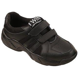 Twin school uniform shoe TRH-46010 black velcro