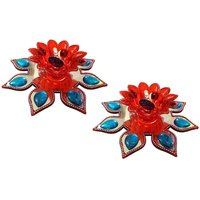 Unique Arts LED T-Light Diya Red&silver With Flower Shaped Base - Set Of 2