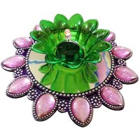 Unique Arts LED T-Light Diya Pink&green With Round Flower Base