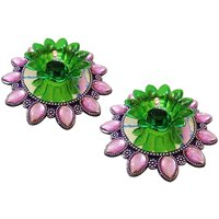 Unique Arts LED T-Light Diya Pink&green With Round Flower Base - Set Of 2