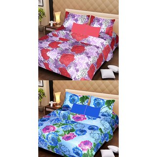 Akash Ganga Beautiful Combo of 2 Double Bedsheets with 4 Pillow Covers (AG1145)
