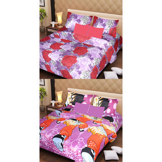 Akash Ganga Beautiful Combo of 2 Double Bedsheets with 4 Pillow Covers (AG1146)