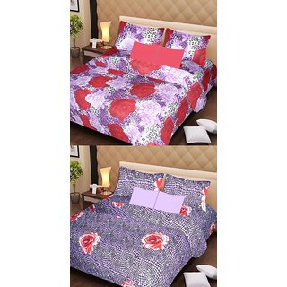 Akash Ganga Beautiful Combo of 2 Double Bedsheets with 4 Pillow Covers (AG1149)
