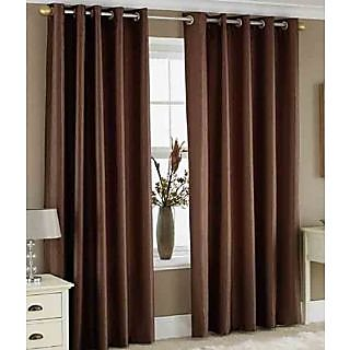 Fabbig Coffee Crushed Door Curtain (Set of 2)