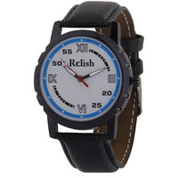 Relish Black Analog Leather Casual Wear Watch For Men - 82769096