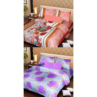 Akash Ganga Beautiful Combo of 2 Double Bedsheets with 4 Pillow Covers (AG1153)