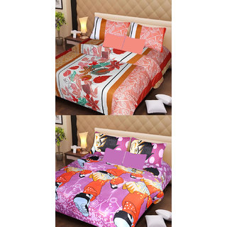 Akash Ganga Beautiful Combo of 2 Double Bedsheets with 4 Pillow Covers (AG1156)