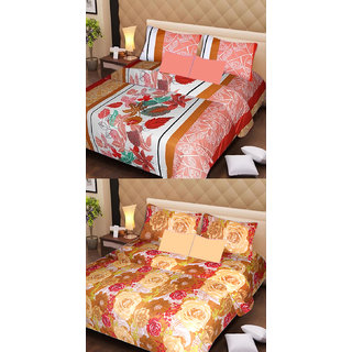 Akash Ganga Beautiful Combo of 2 Double Bedsheets with 4 Pillow Covers (AG1157)