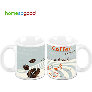 HomeSoGood Its Coffee Time Creamic Coffee Mugs (2 Mugs) (HOMESGMUG459-A)