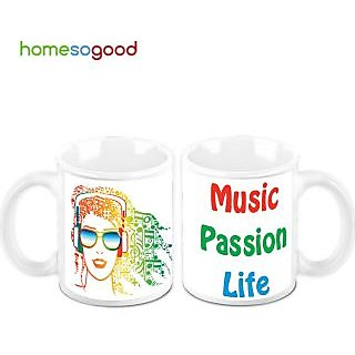 HomeSoGood Music Is Passion And Life Creamic Coffee Mugs (2 Mugs) (HOMESGMUG451-A)