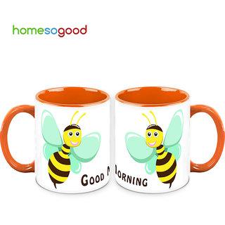 HomeSoGood Honeybee Says Good Morning Coffee Mugs (2 Mugs) (HOMESGMUG715-A)
