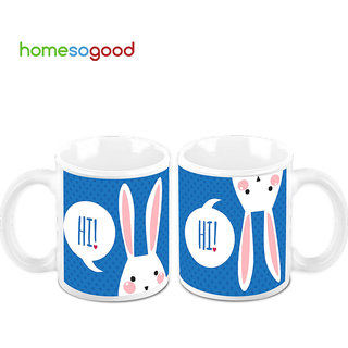 HomeSoGood Hi! You There Creamic Coffee Mugs (2 Mugs) (HOMESGMUG463-A)