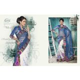 Aarya Navy Blue And White Embroidered Chrochet Net And Wrinkle Chiffon Saree With Unstitched Blouse