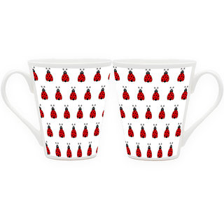 HomeSoGood Army Of Ladybugs Latte Coffee Mugs (2 Mugs) (HOMESGMUG1866-A)