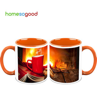 HomeSoGood Reader And His Coffee In Coffee Mugs (2 Mugs) (HOMESGMUG504-A)